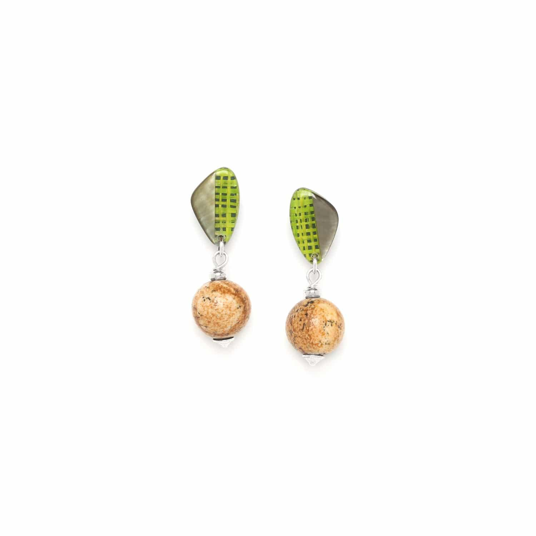 MAMBE boucles d'oreilles perle jaspe
