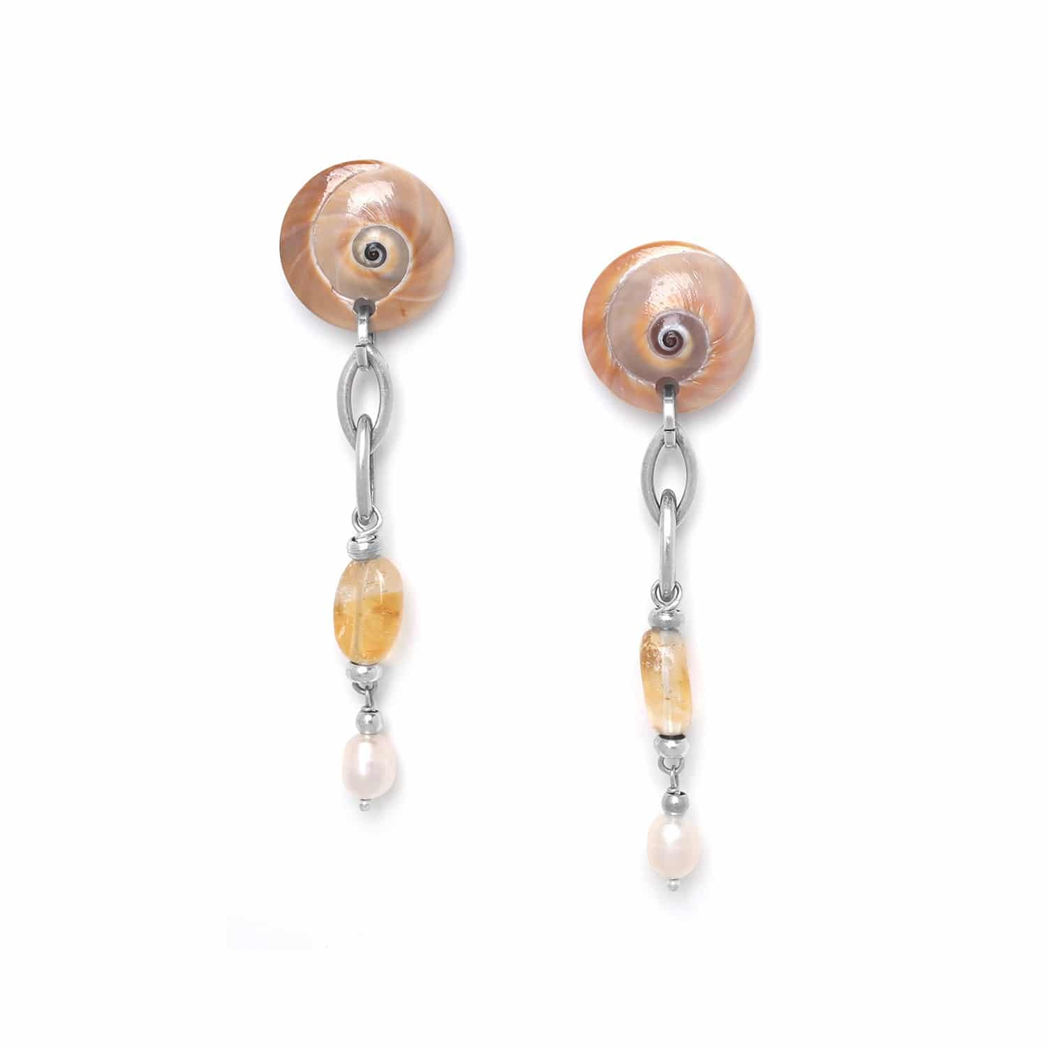 MAKATEA citrine & pearl earrings