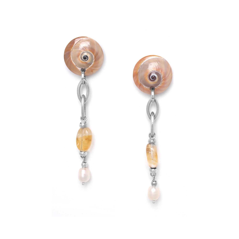 MAKATEA boucles d'oreilles citrine & perle de culture