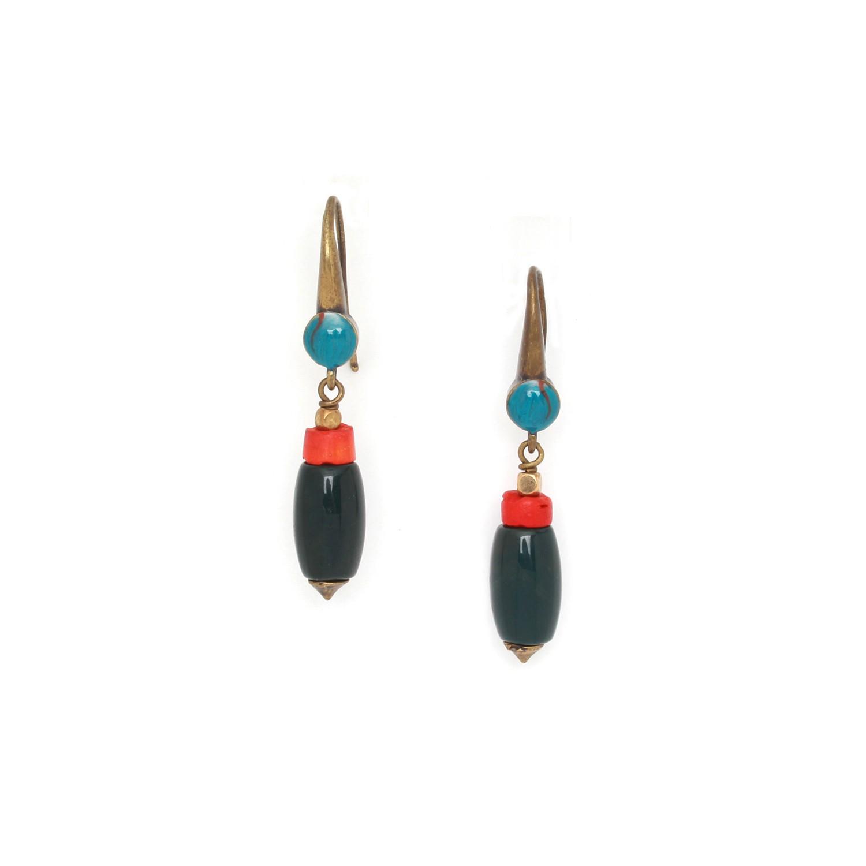 PIGMENTS green jasper olive hook earrings