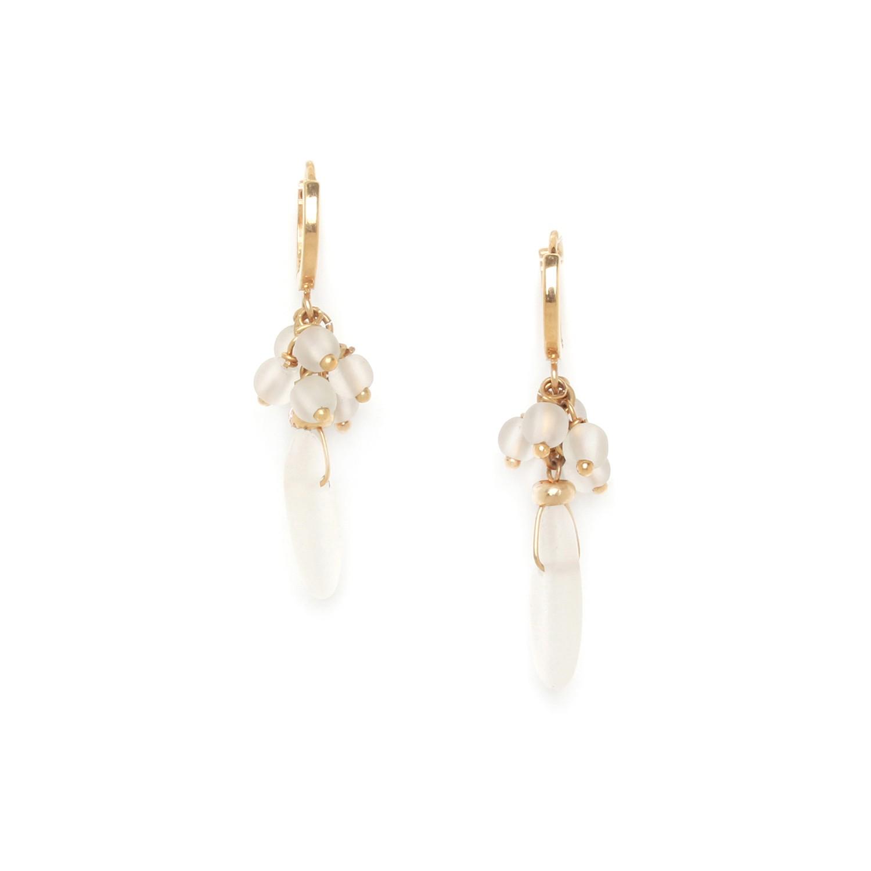 OMBRE ET LUMIERE  boucles d'oreilles mini créoles cristal de roche