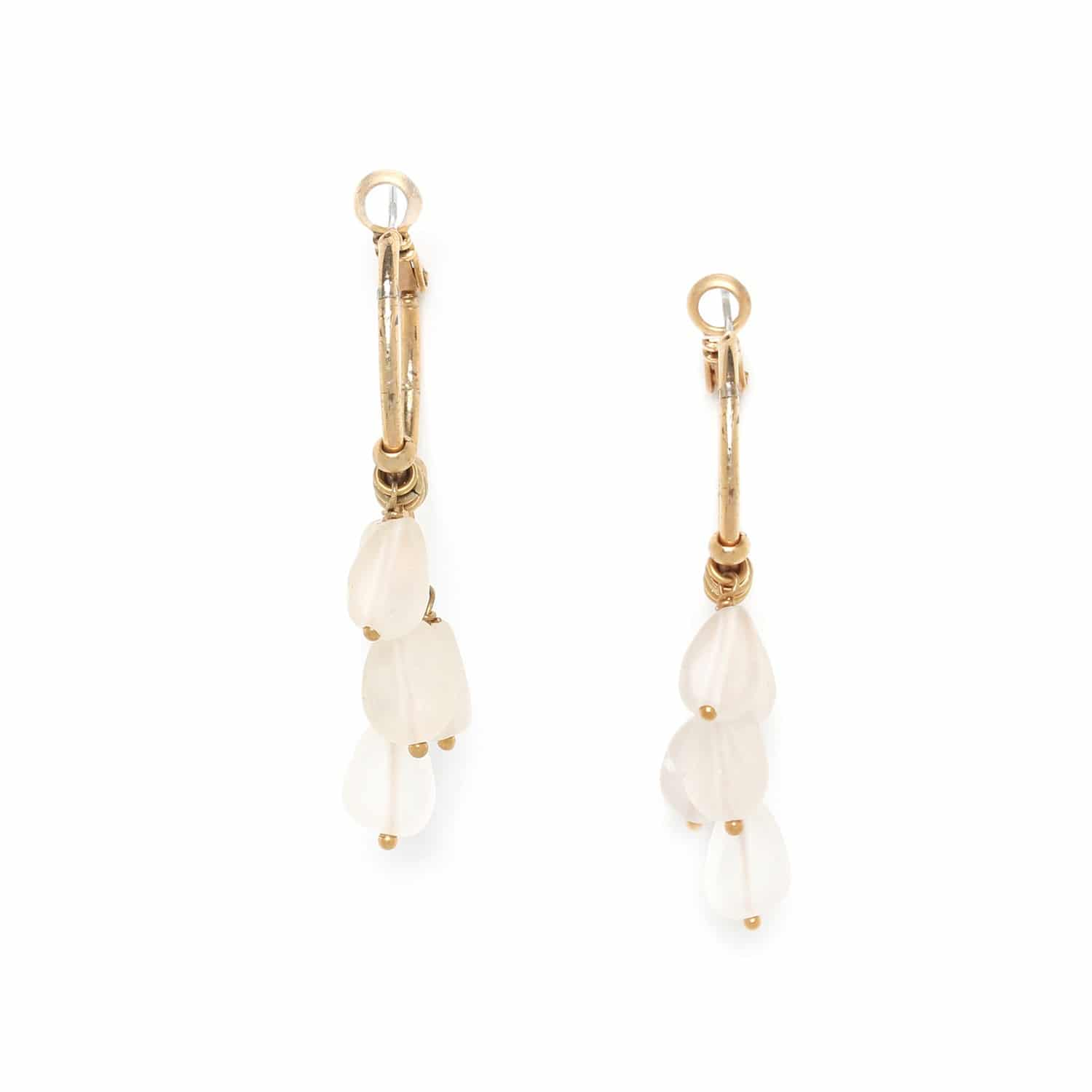 OMBRE ET LUMIERE  rock crystal multi drop creole earrings