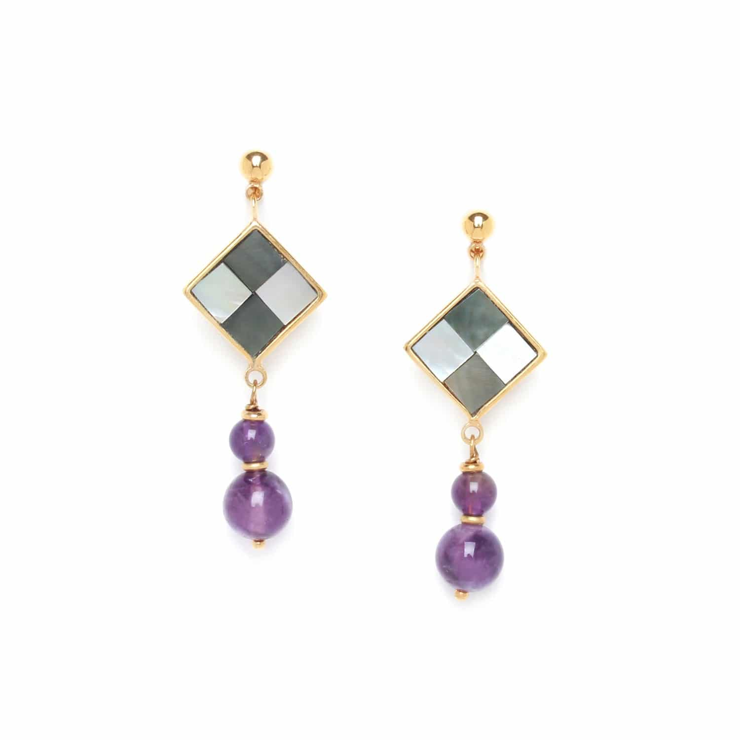 LE SQUARE two amethyst bead earrings