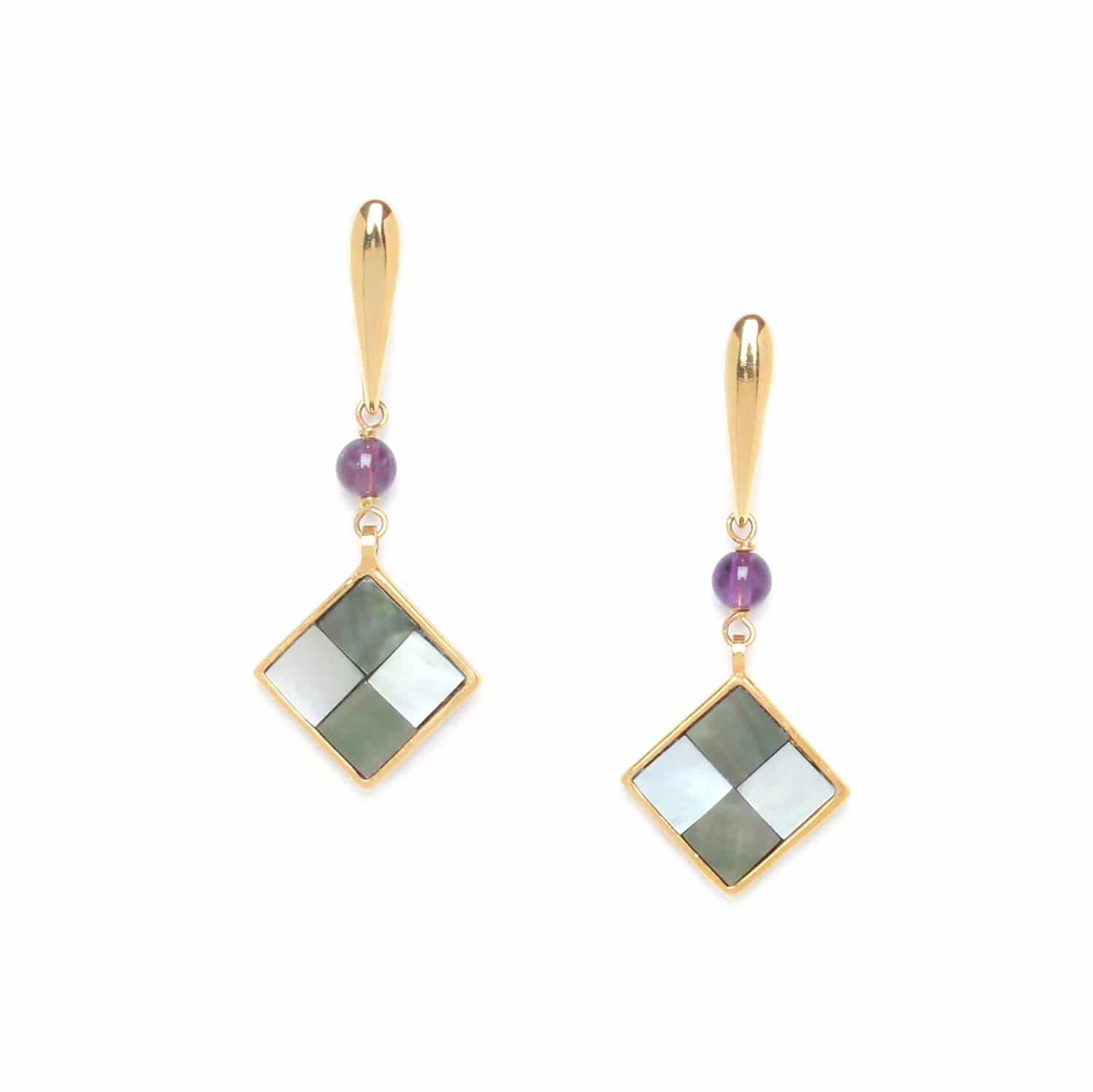 LE SQUARE one amethyst bead earrings