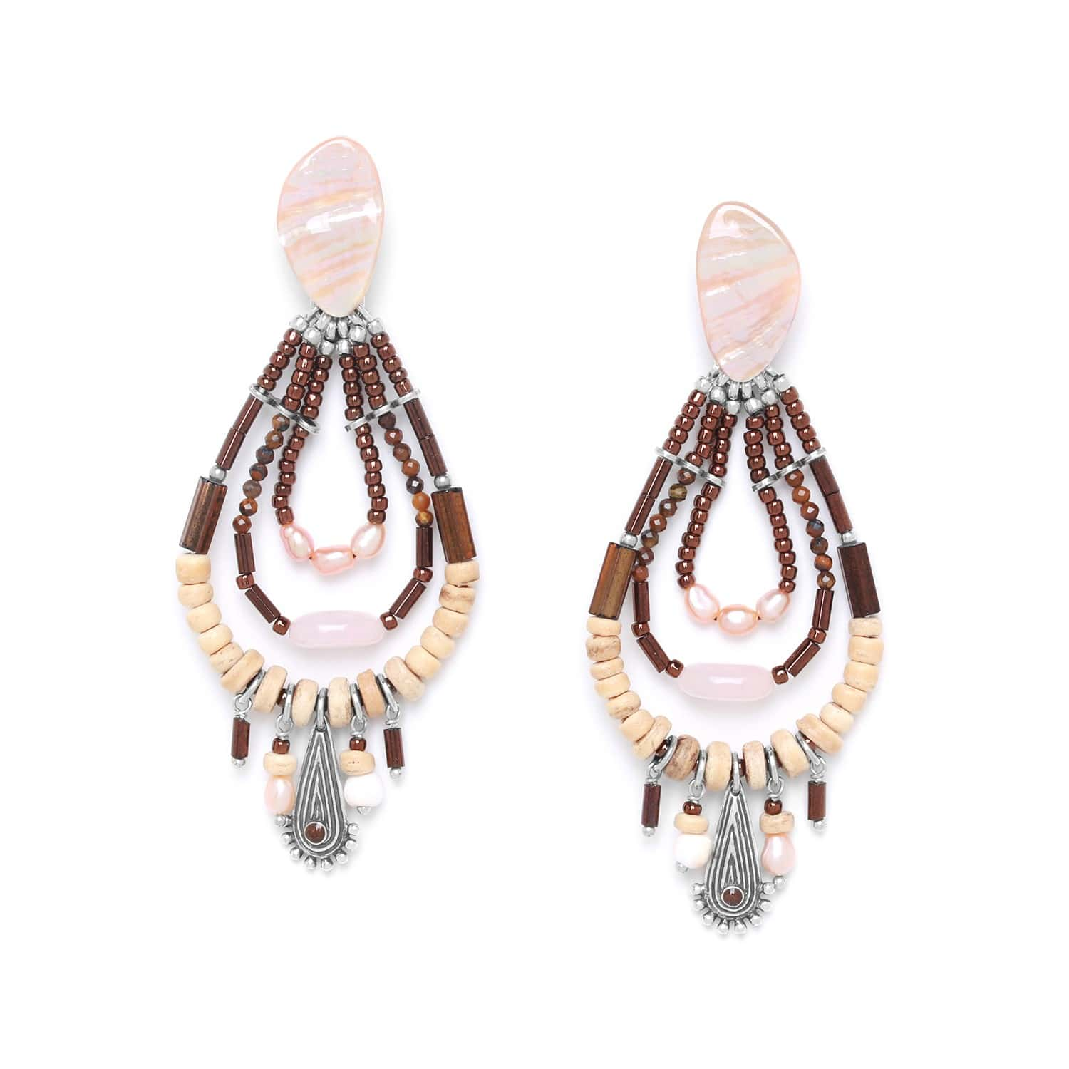 TERRE DOUCE three loop earrings with dangles