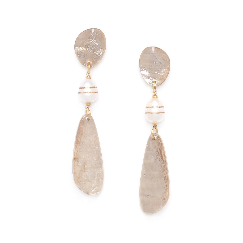 SWEET PEARL  boucles d'oreilles deux capiz & une perle de culture