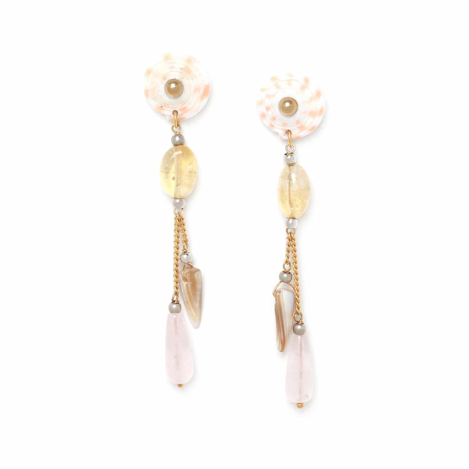 LAGOON  citrine & rose quartz drop earrings