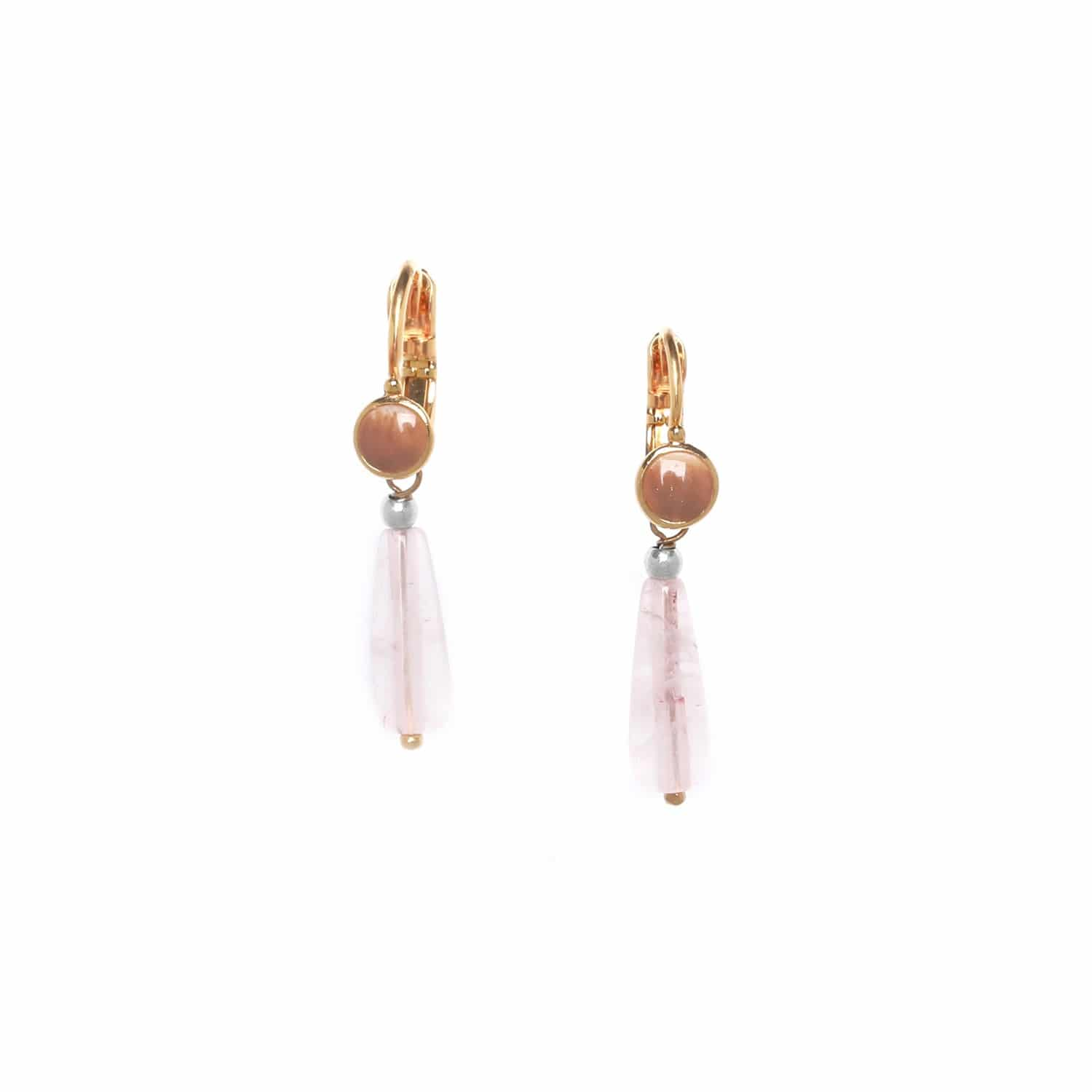LAGOON  rose quartz drop earrings