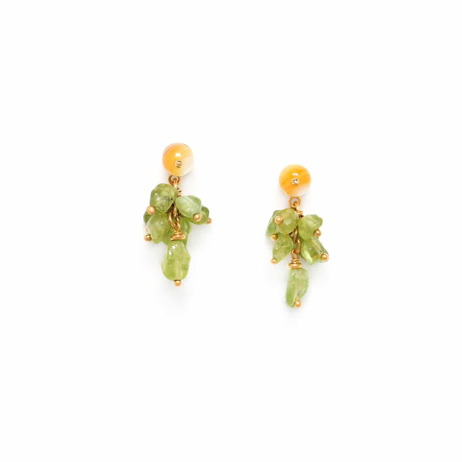 GINKGO peridot grape earrings