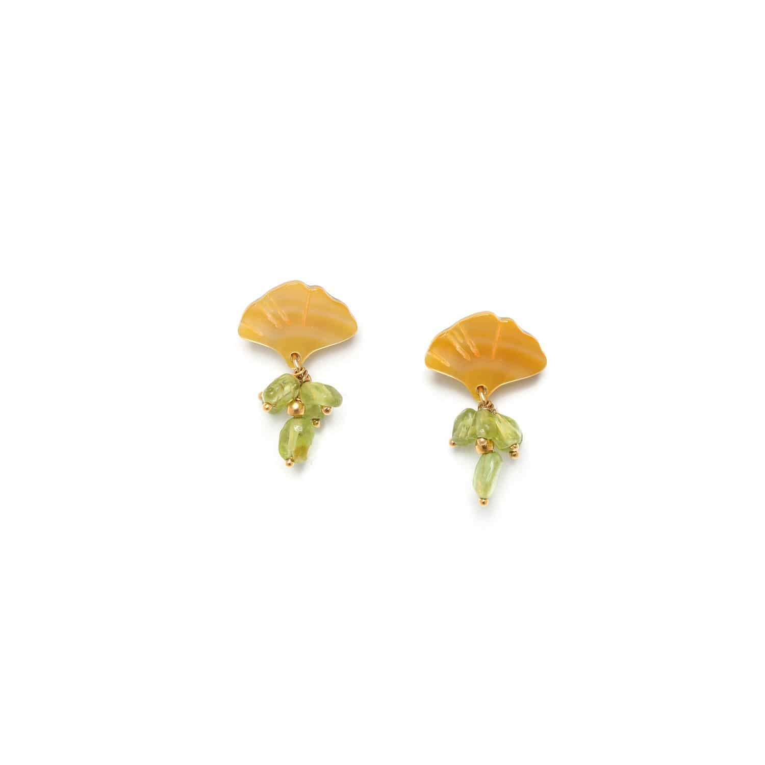 GINKGO peridot grape earrings with leaf top