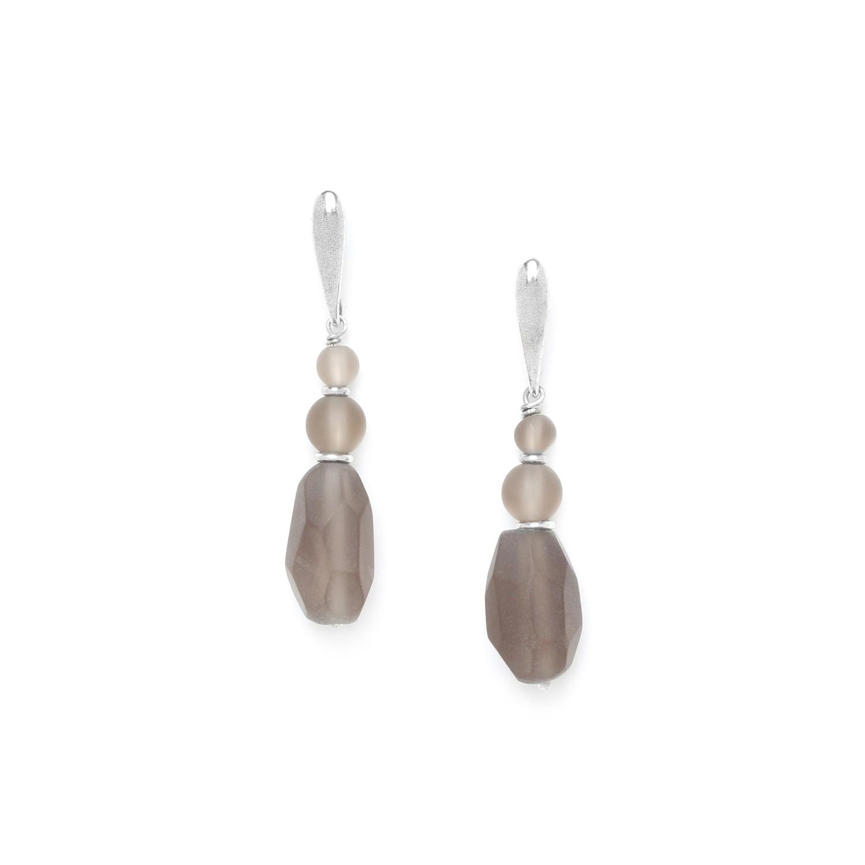 OMBRE ET LUMIERE  boucles d'oreilles olive de quartz fumé