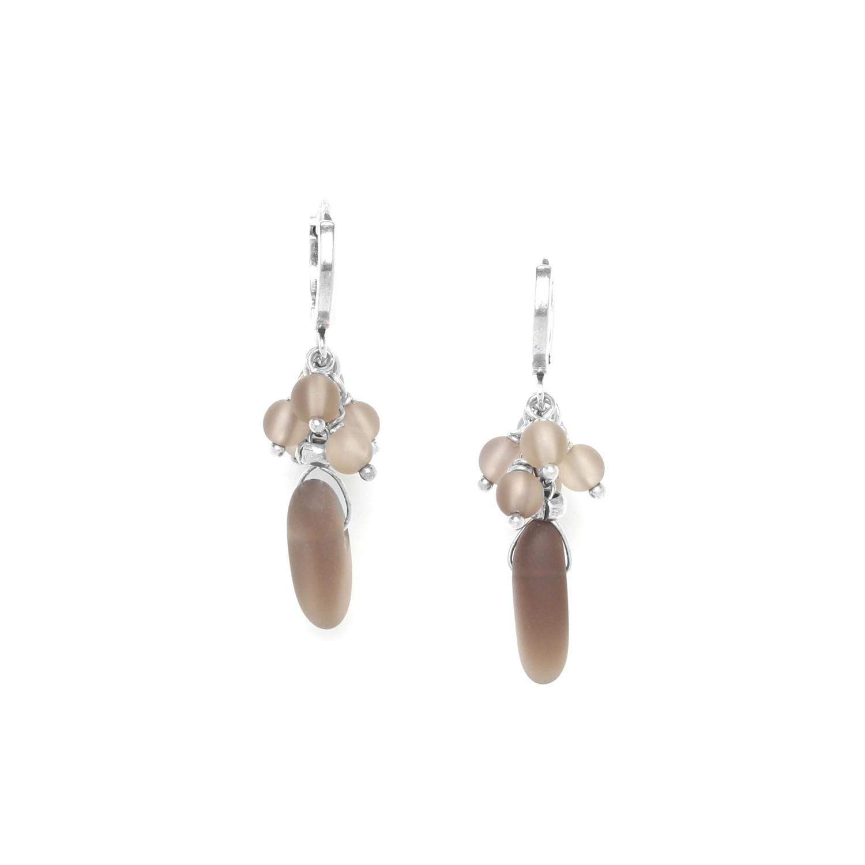 OMBRE ET LUMIERE  boucles d'oreilles mini créoles quartz fumé