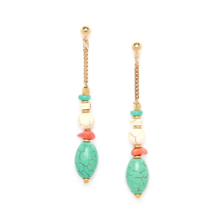 KALI boucles d'oreilles olive turquoise