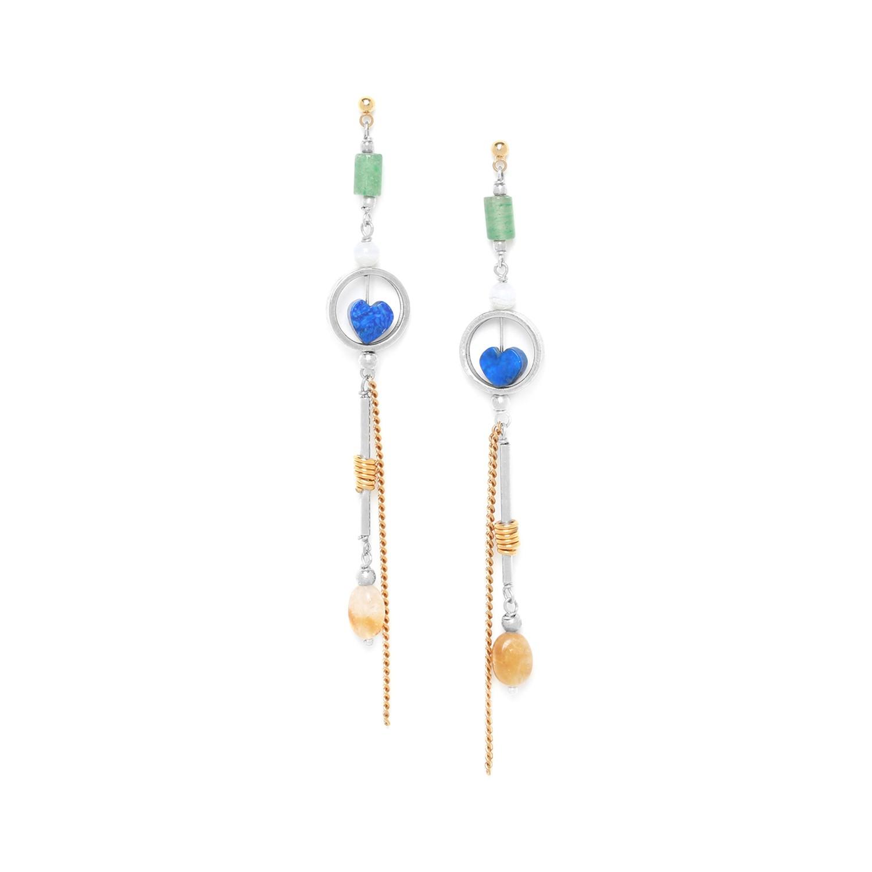 KALI boucles d'oreilles coeur en lapis lazuli