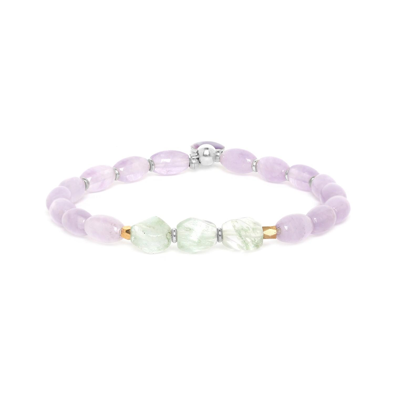 WATER LILY amethyst & quartz stretch bracelet