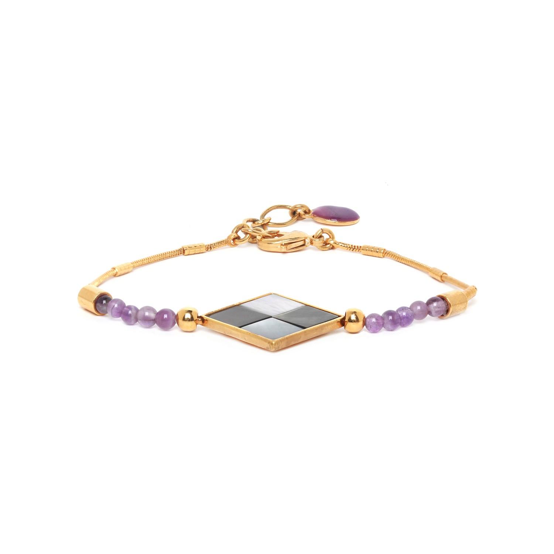 LE SQUARE bracelet améthyste et nacres