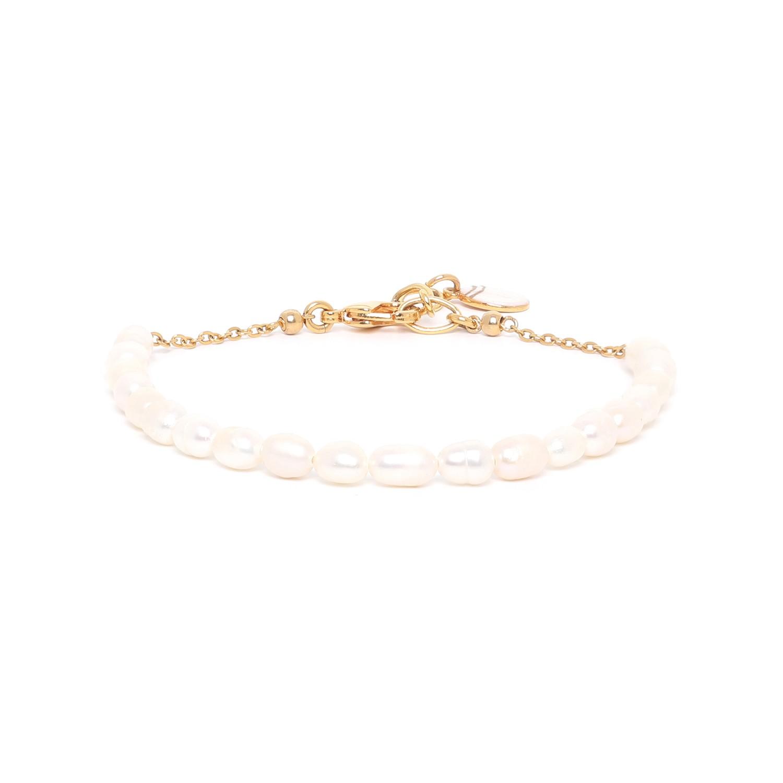 SWEET PEARL pearl & chain bracelet