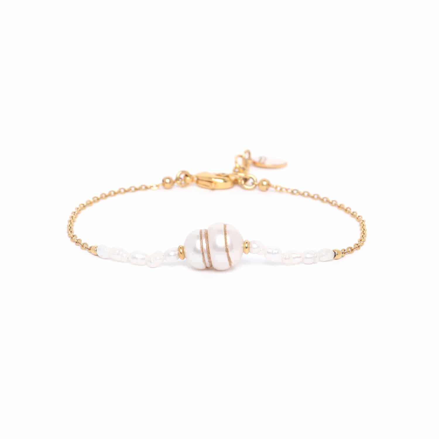 SWEET PEARL big pearl bracelet with gold chain