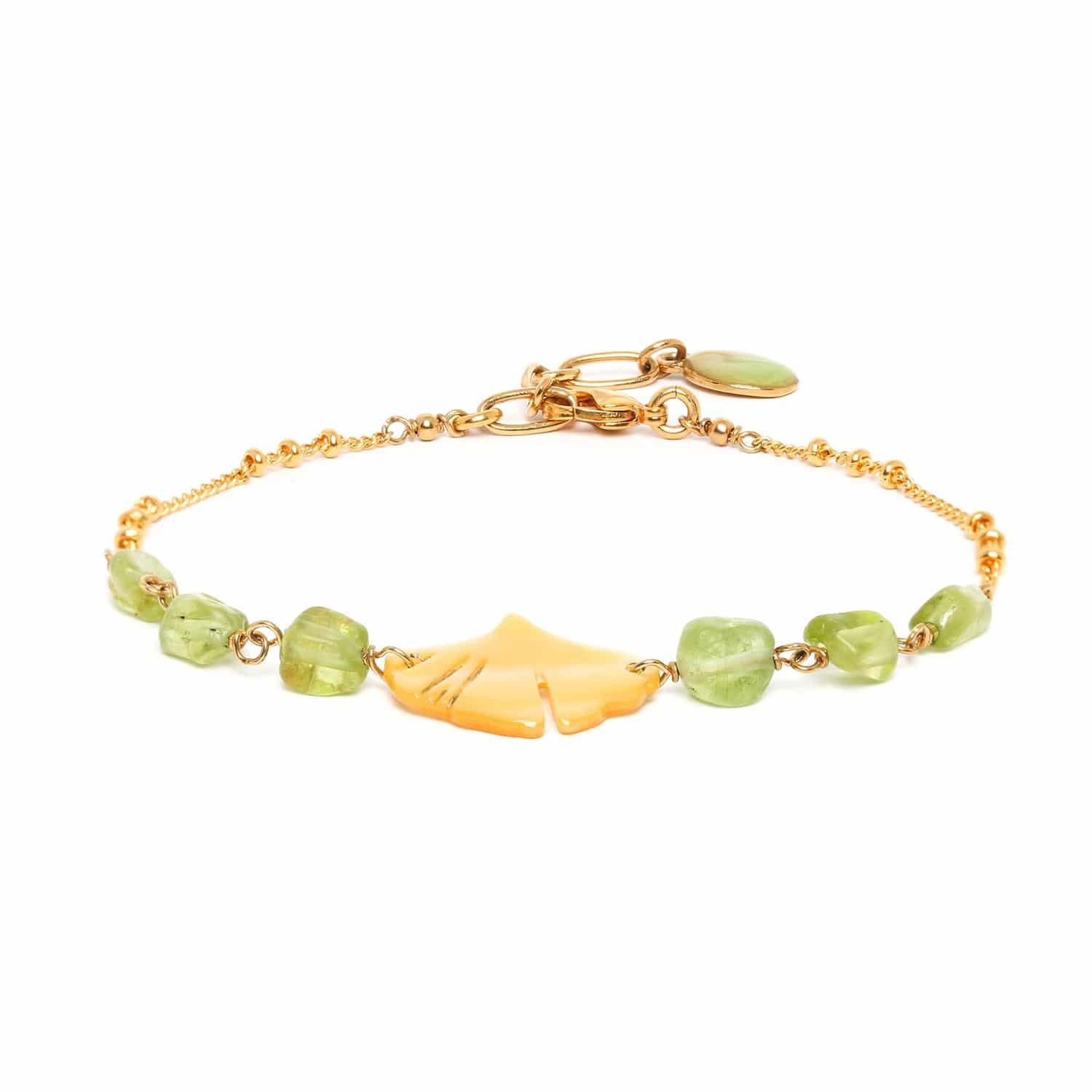 GINKGO  peridot bracelet with chain