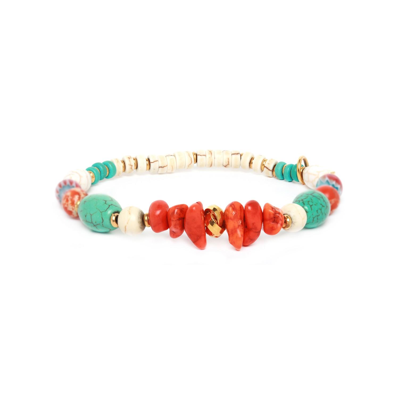 KALI bracelet extensible orange turquoise et blanc