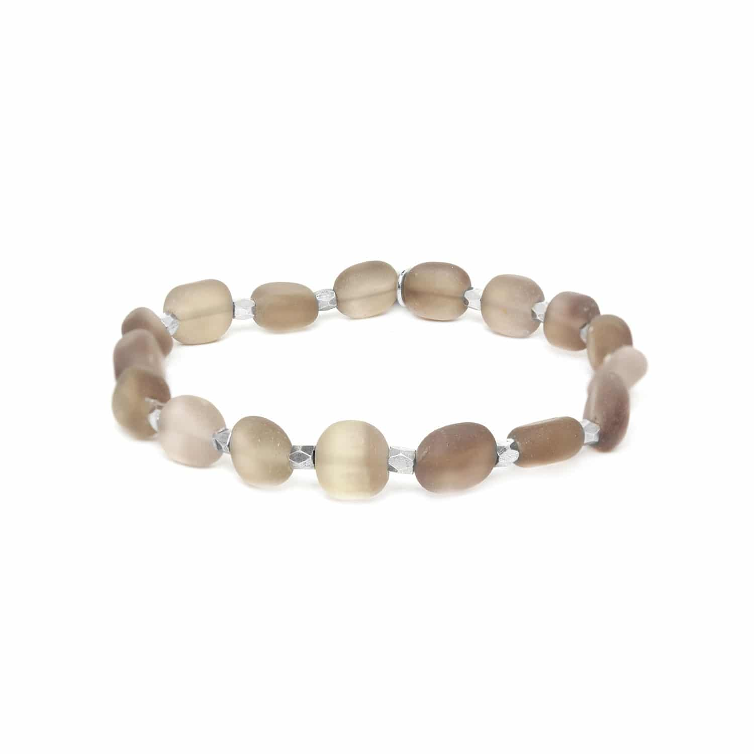 OMBRE ET LUMIERE  smoky quartz olive stretch bracelet