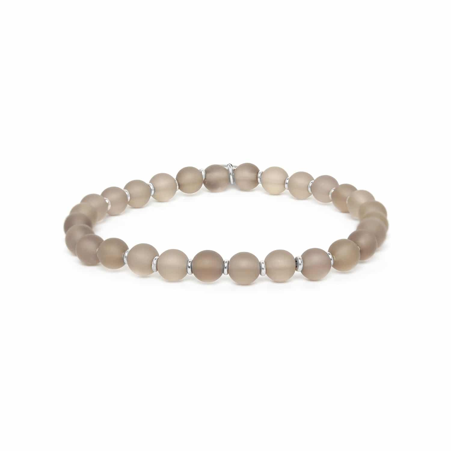 OMBRE ET LUMIERE smoky quartz round bead stretch bracelet