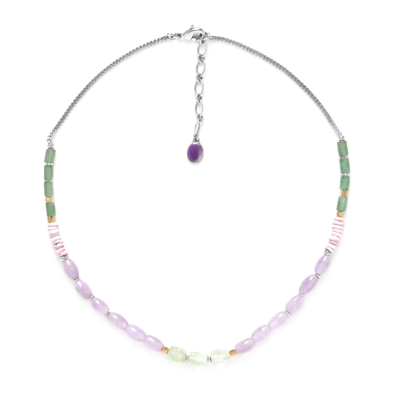 WATER LILY amethyst, aventurine & quartz necklace