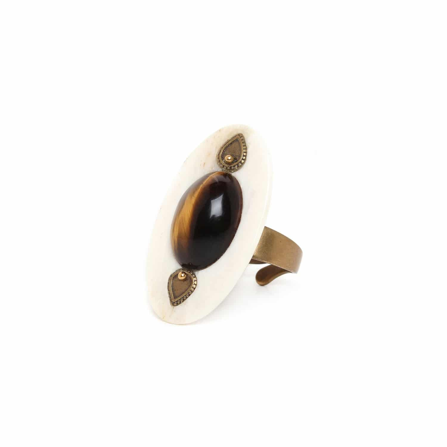 VARANASI bone & tiger eye ring