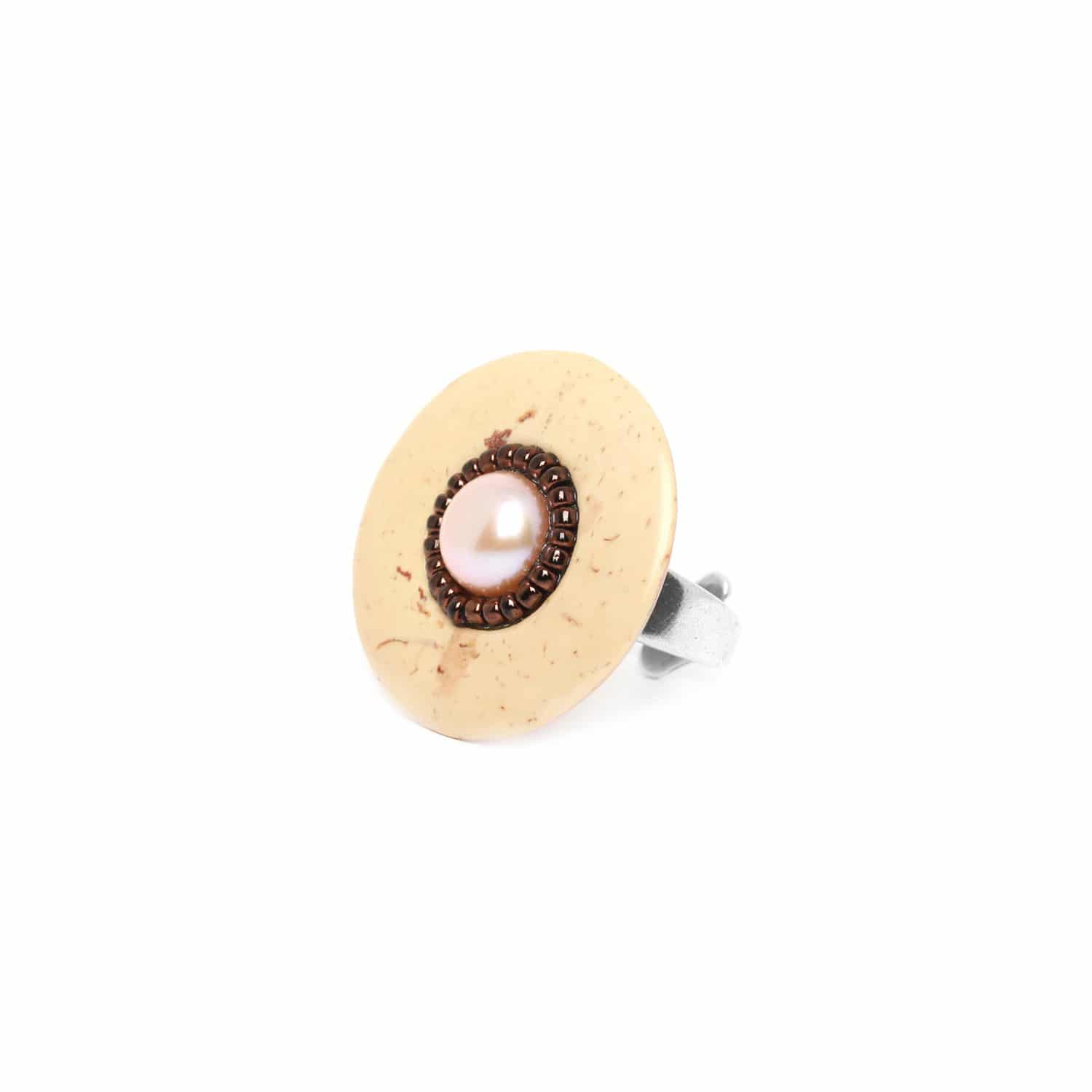 TERRE DOUCE coco ring with pearl