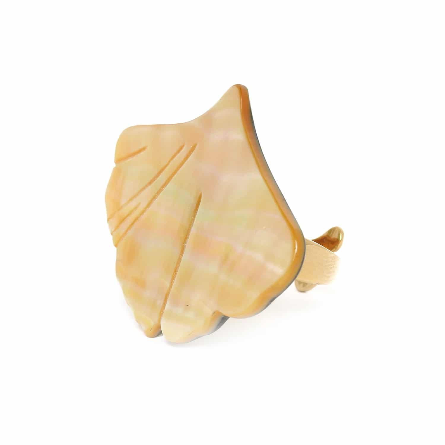 GINKGO Mother of pearl big ring