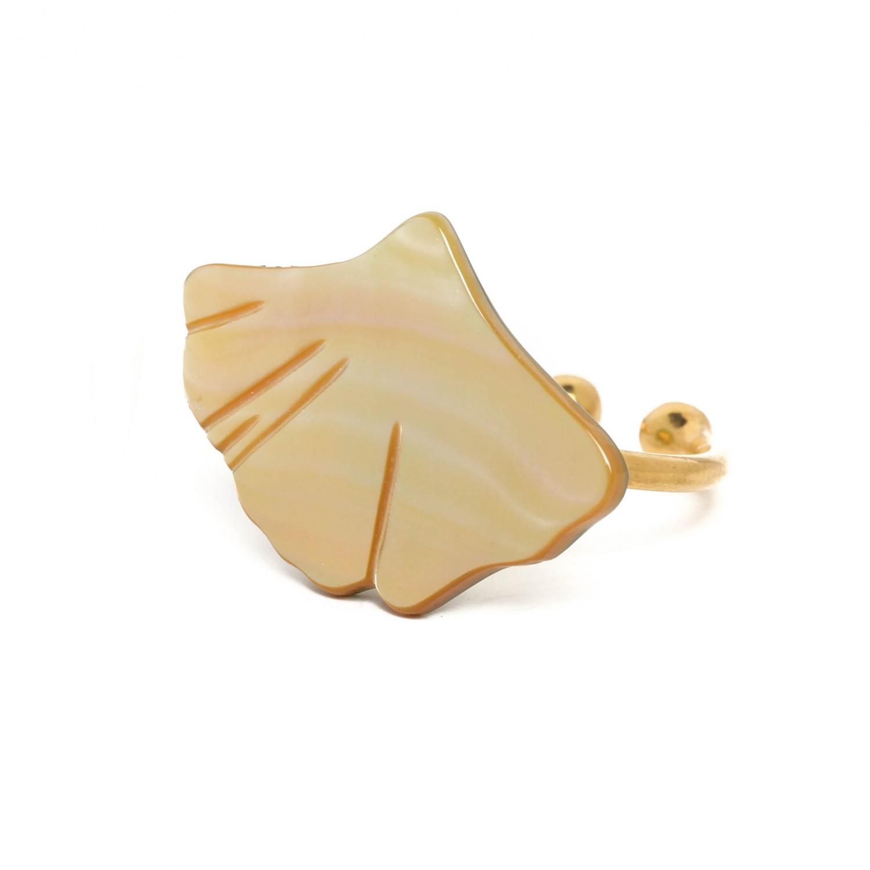 GINKGO Petite bague nacre dorée