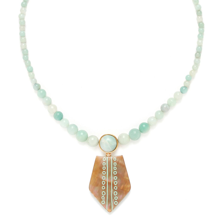 CELADON  collier amazonite avec pendentif