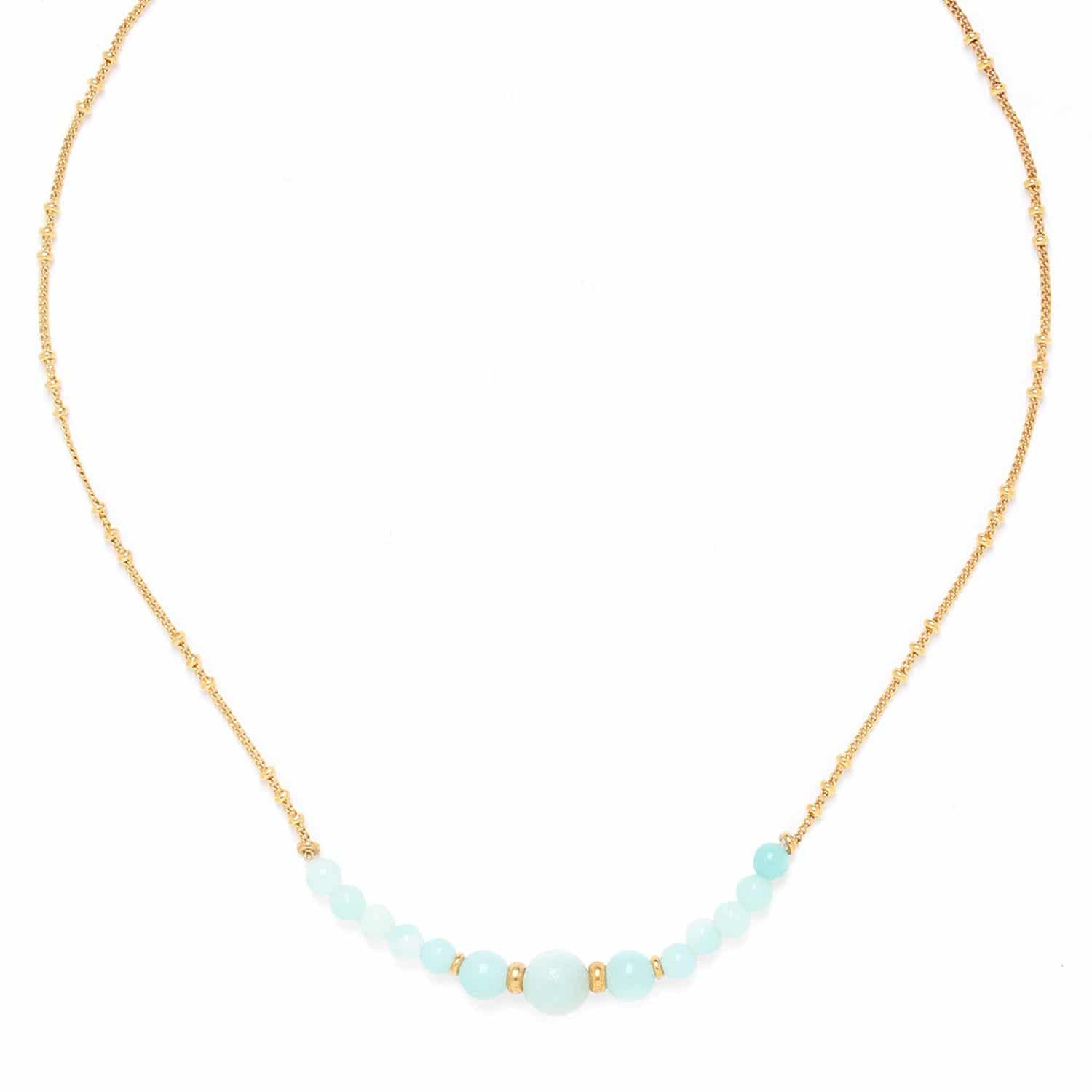 CELADON collier amazonite chaîne or