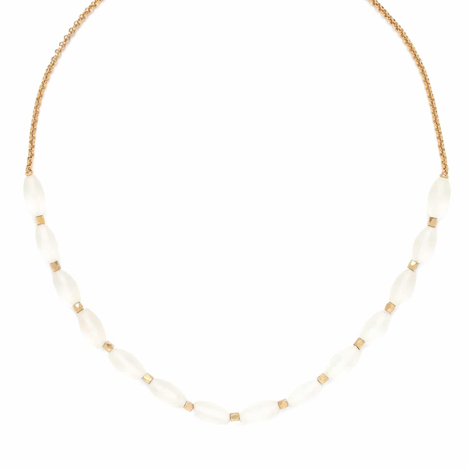 OMBRE ET LUMIERE  rock crystal olive necklace