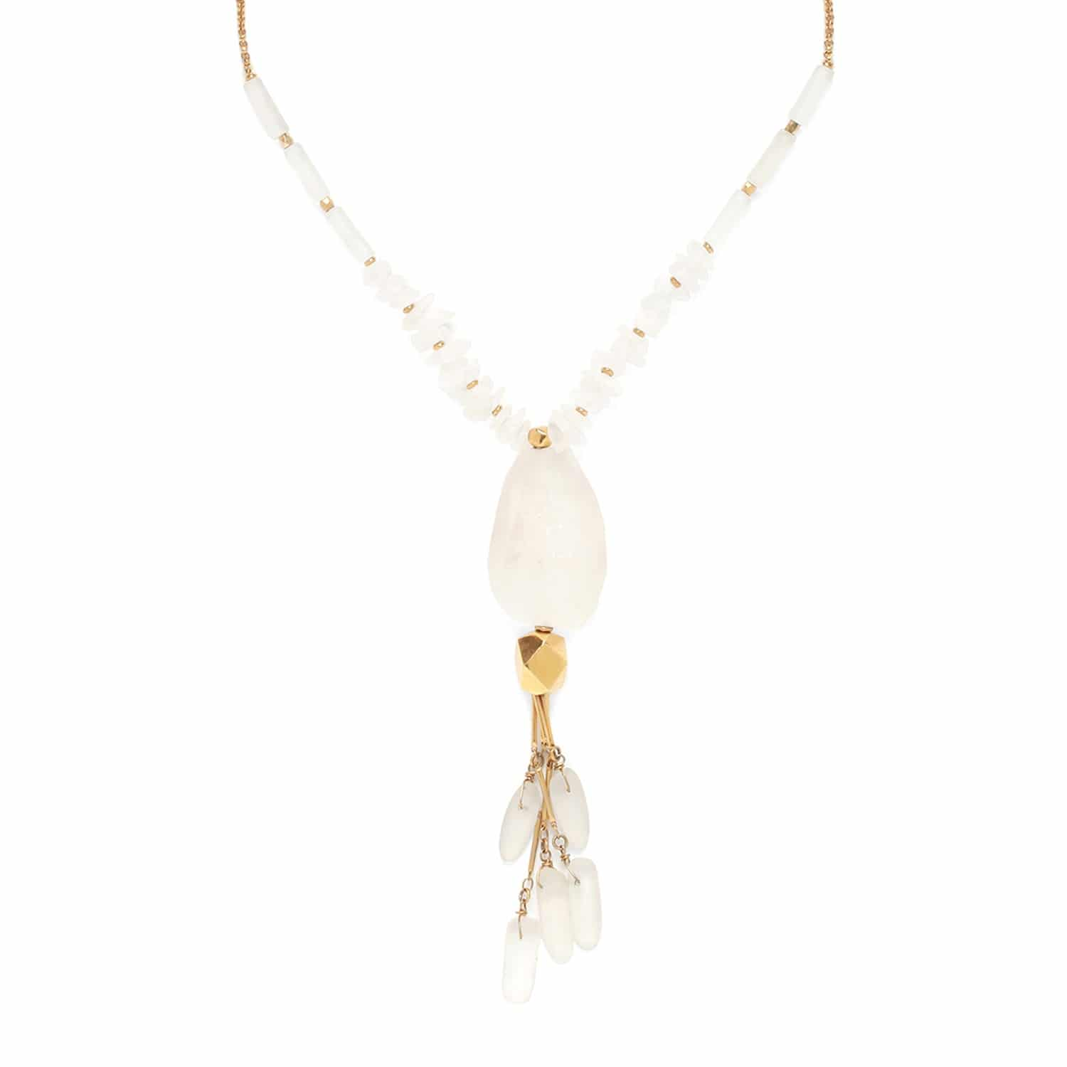 OMBRE ET LUMIERE rock crystal necklace with pendant