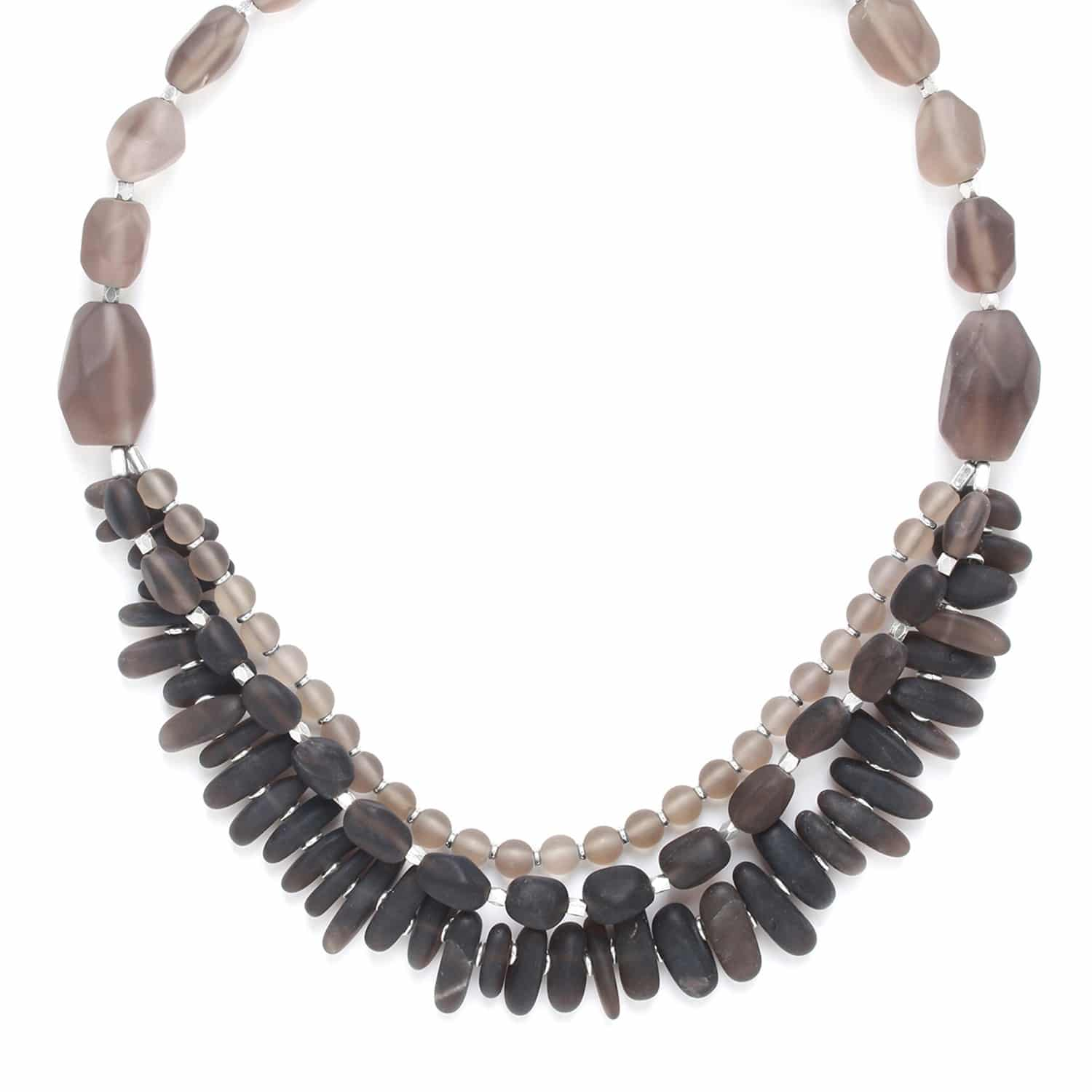 OMBRE ET LUMIERE  smoky quartz 3 row necklace