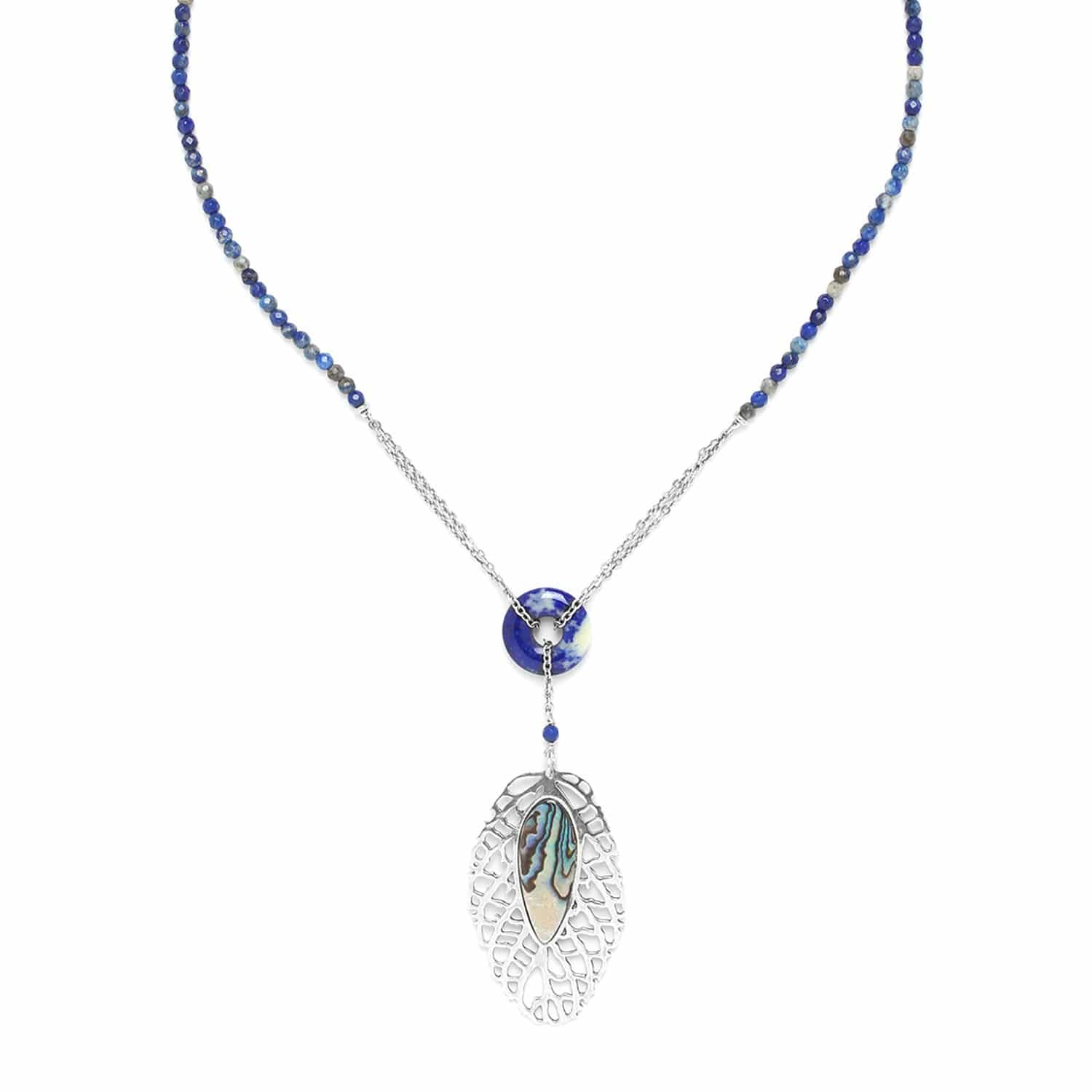 FITTONIA lapis lazuli necklace with leaf