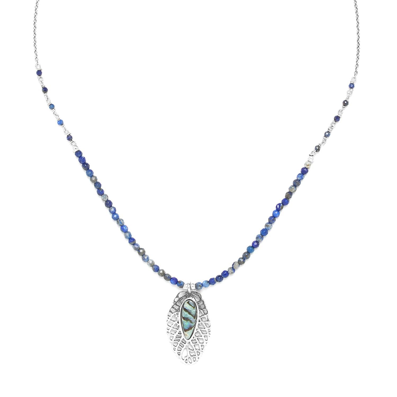 FITTONIA collier lapis lazuli petite feuille