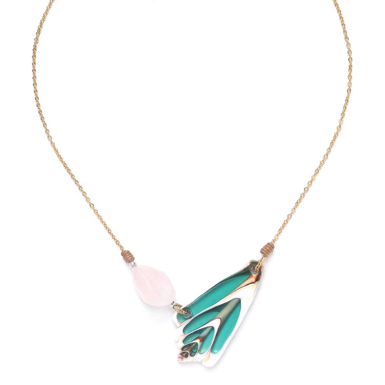 LAGOON collier quartz rose & coquillage
