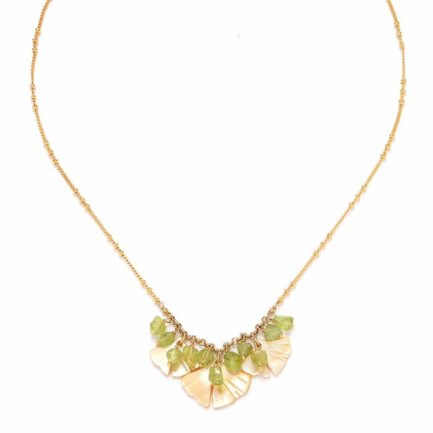 GINKGO  three leaves necklace with peridot