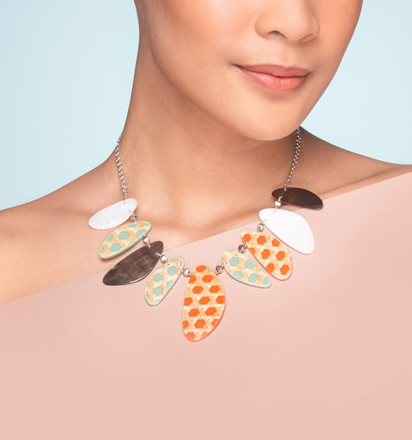 Nature Bijoux Mother of Pearl Necklace and Earrings France
