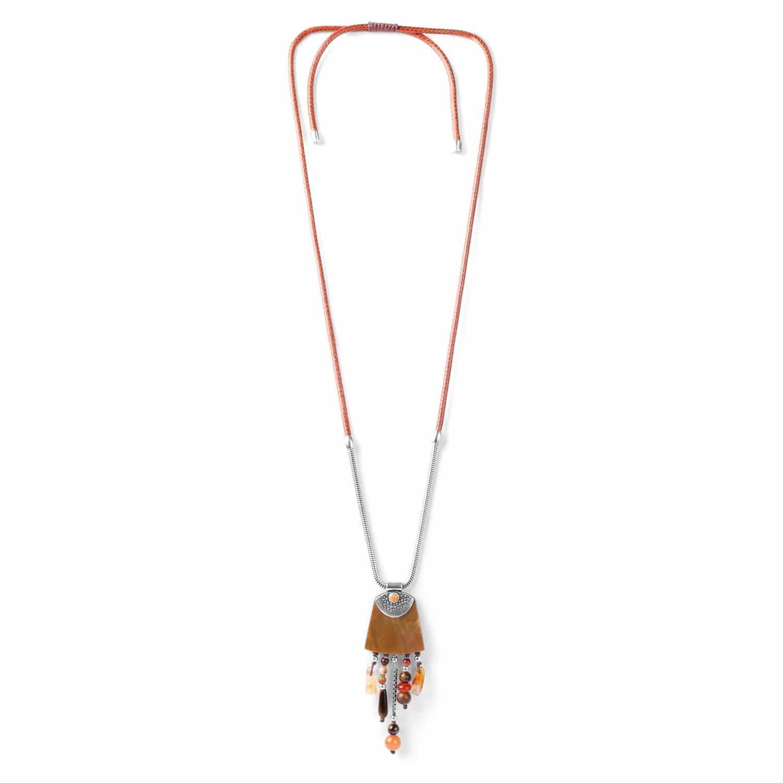LES AJUSTABLES collier long nacre brune