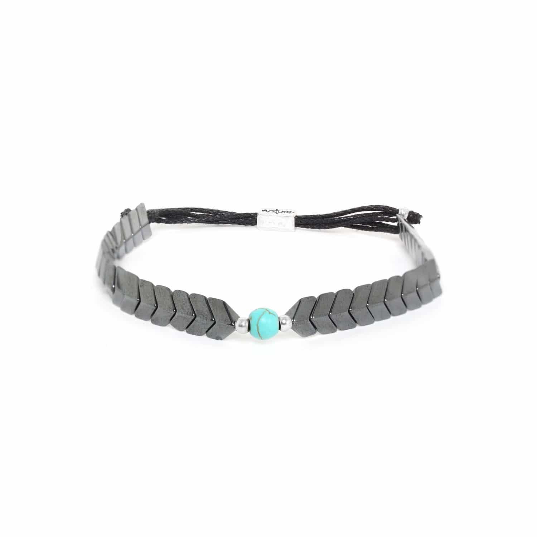 CAPORAL bracelet hematite ajustable turquoise