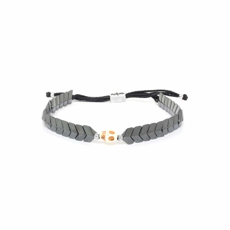 CAPORAL bracelet hématite ajustable crâne