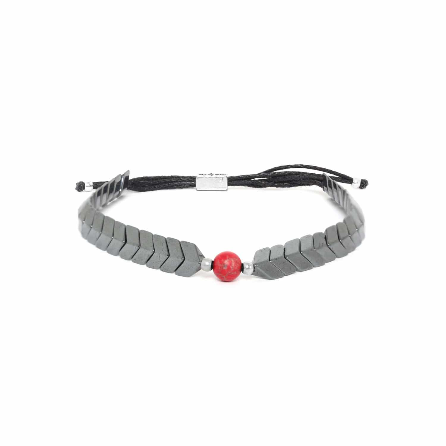 CAPORAL hematite adjustable bracelet red