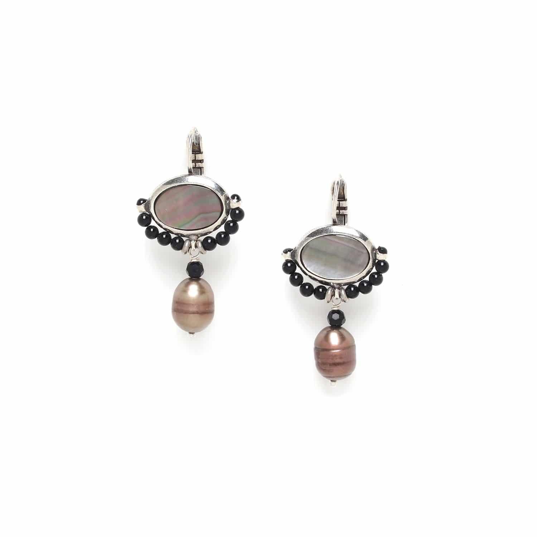DROPLET black pearl earrings