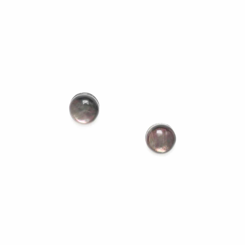 MINI PUCE boucles d'oreilles nacre noire