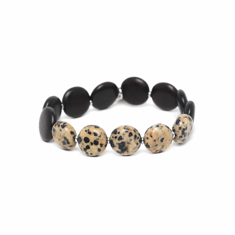 PILLS bracelet jaspe dalmatien & ébène