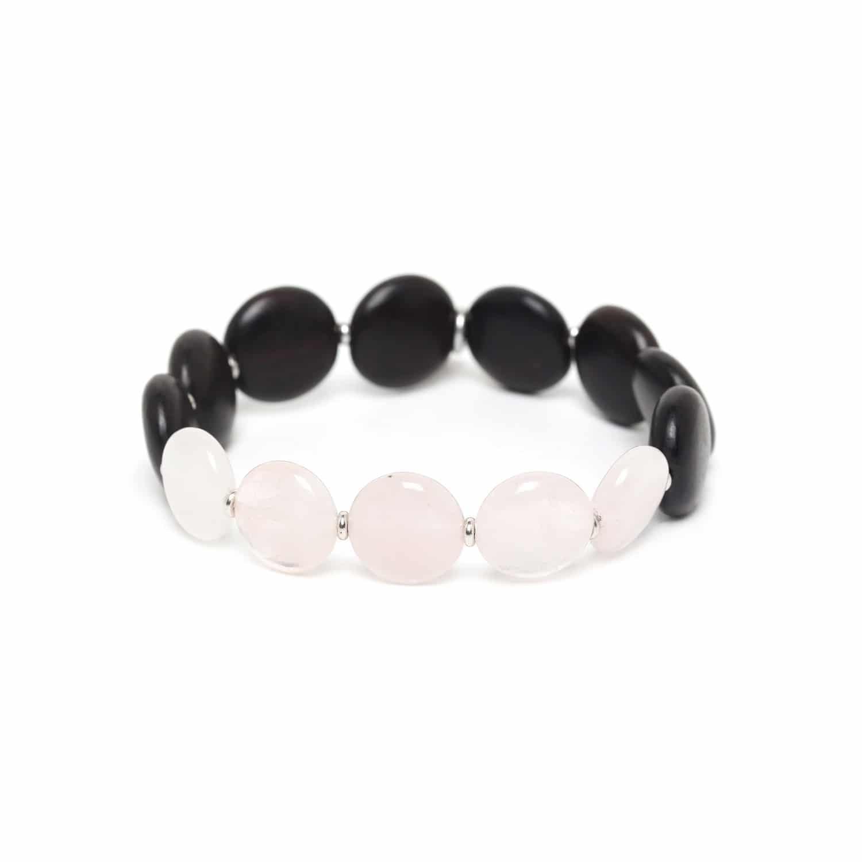 PILLS bracelet quartz rose & ébène