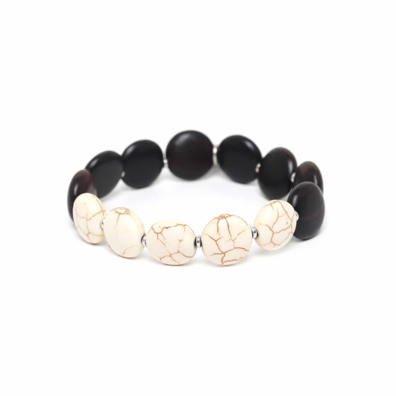 PILLS bracelet howlite & ébène